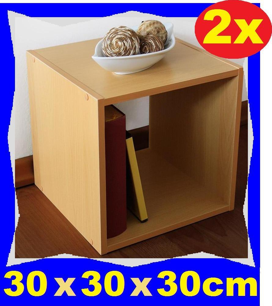 2 x holzregal buche 30 x 30 x 30cm b cherregal w rfel. Black Bedroom Furniture Sets. Home Design Ideas